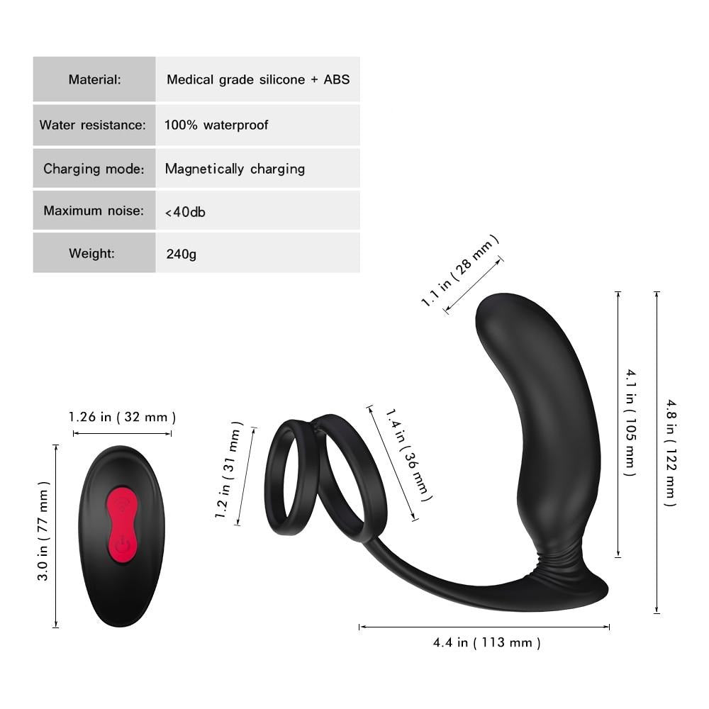 Anal Plug Vibrator with Cock Ring - Own Pleasures