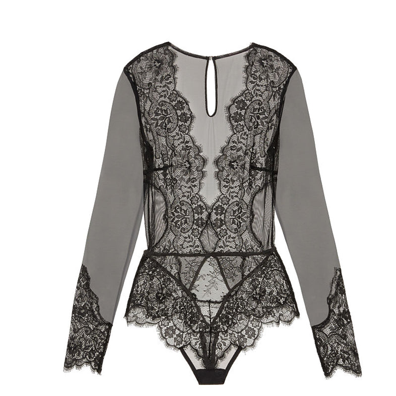 Up to 5XL Lace Elegant and Sexy V Neck Long Sleeve Bodysuit - Own Pleasures