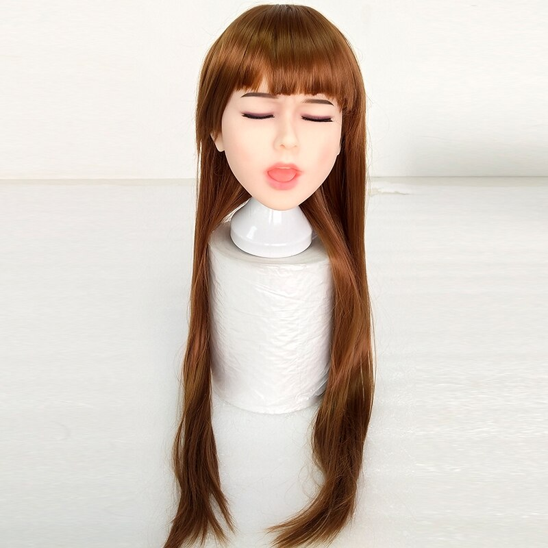 Closed Eyes Sex Doll Head with Wig - Own Pleasures