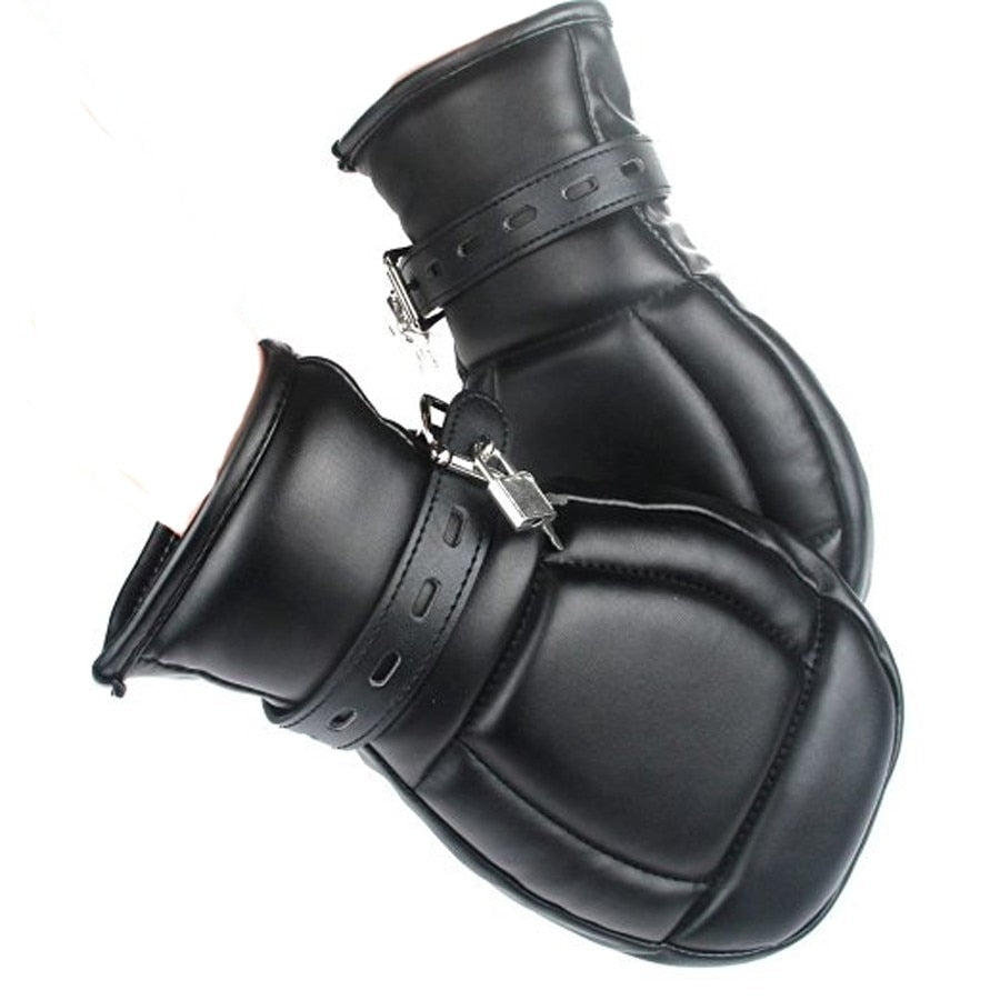 PU Leather Soft Padded | BDSM Bondage Restraints Mitten With Lock - Own Pleasures