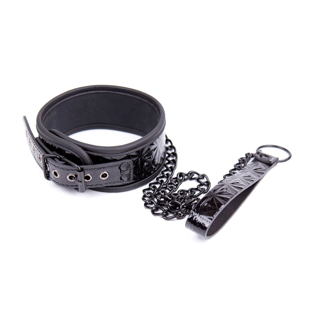 Crimson OR Black Bondage Kit: blindfold, ball gag, collar, wrist and ankle cuffs and paddle - Own Pleasures