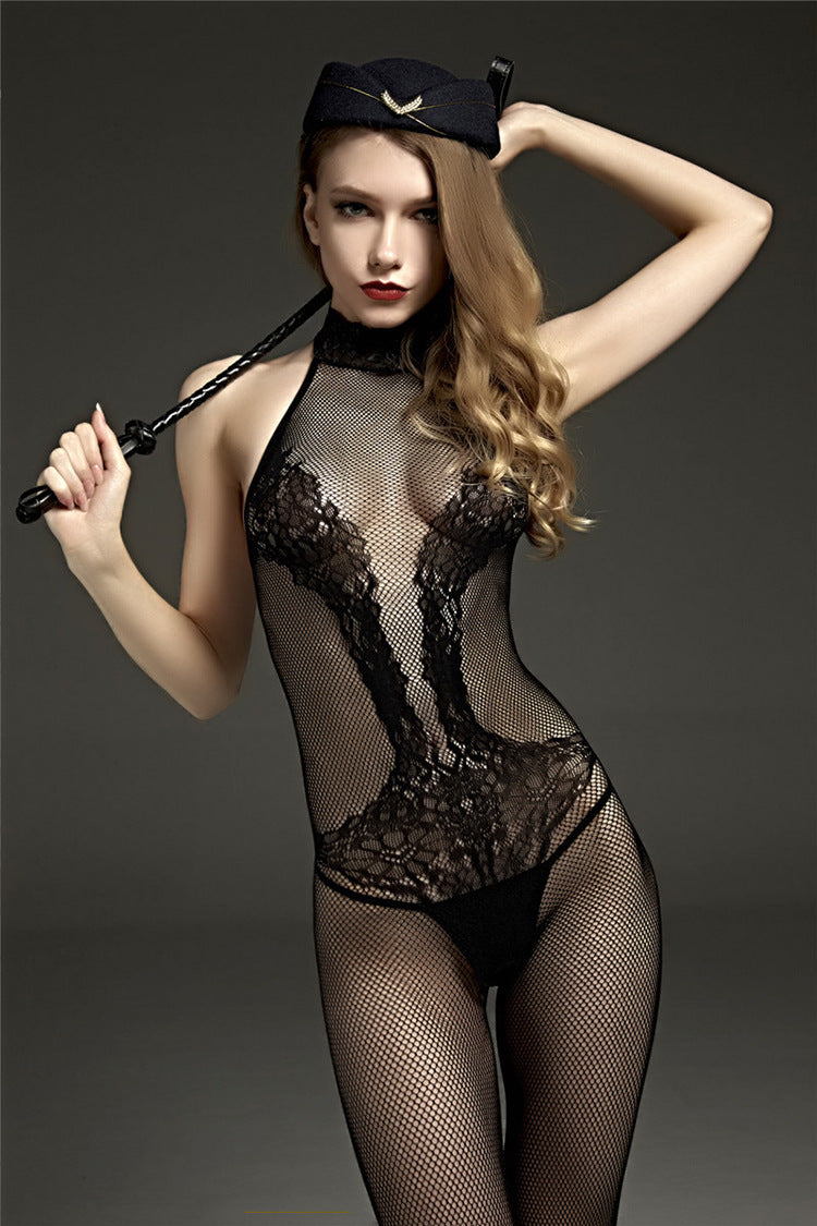 Hot Lace Mesh Crotchless Bodysuit - Own Pleasures