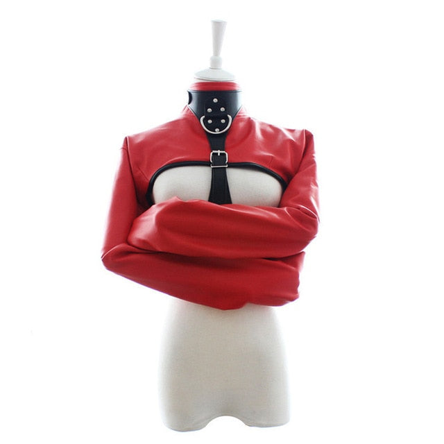 PU Leather Straitjacket Adjustable with Harness for Adult Playtime