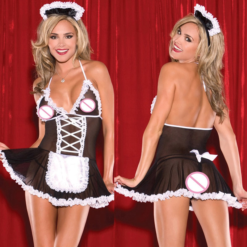 Up to XXL Sexy Maid Costume | Crotchless Lingerie