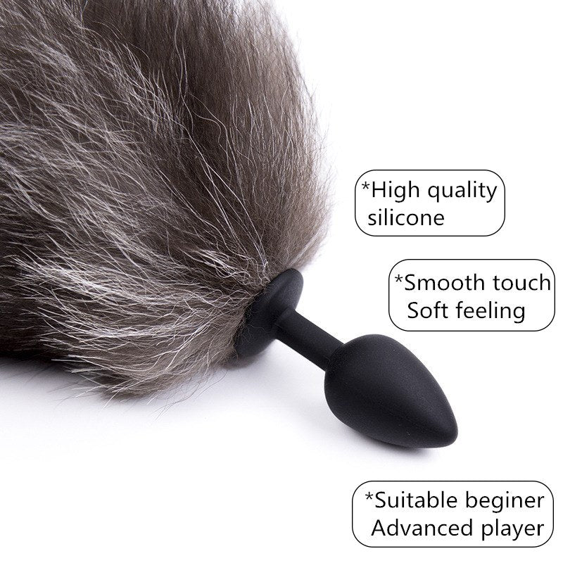 10 Speed Vibrator with Fox Tail Anal Plug