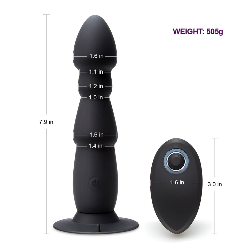 USB 10 Speeds Wireless Remote Control Anal Plug Vibrator with Strong Curved Sucker Beads