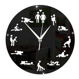 Black and White Mute Sex Position Wall Clock