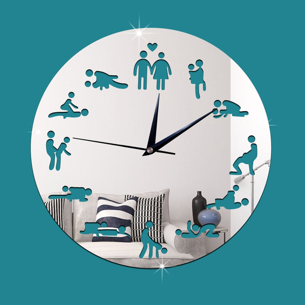 Black and White Mute Sex Position Wall Clock - Own Pleasures