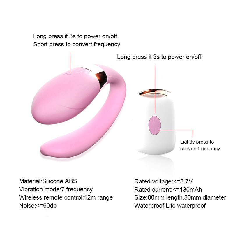Wireless Remote Control U Type Vagina Anal Vibrator For Women