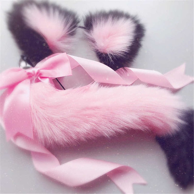 9 Types of Cute Soft Cat Ears Headbands with Fox Tail Bow Metal Butt Plug