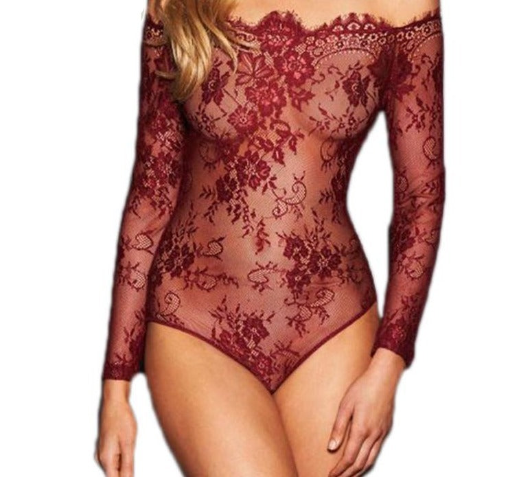 Up to 5XL Romper Playsuit Off Shoulder Eyelash Lace Long Sleeve | Long Sleeve - Own Pleasures