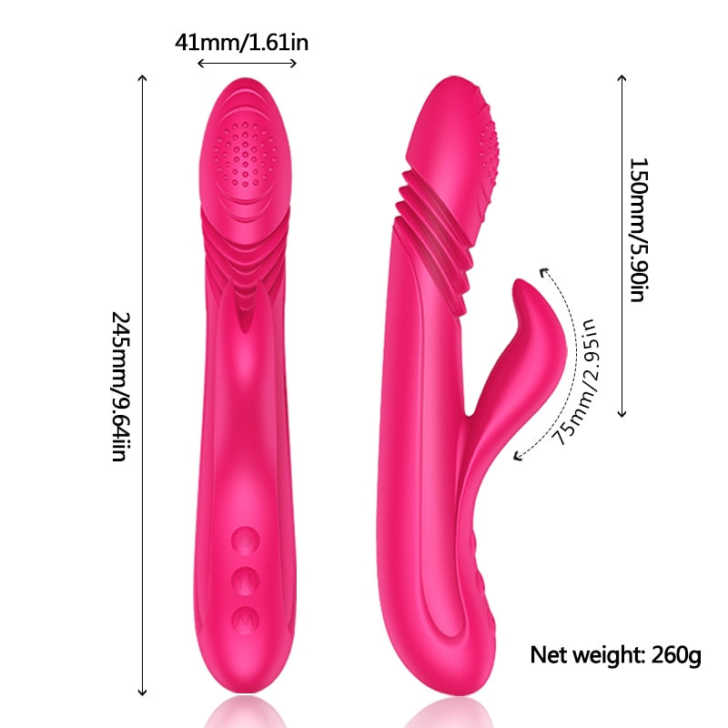 10 Speed Intelligent Heated Rabbit Rotating Dildo Vibrator - Own Pleasures