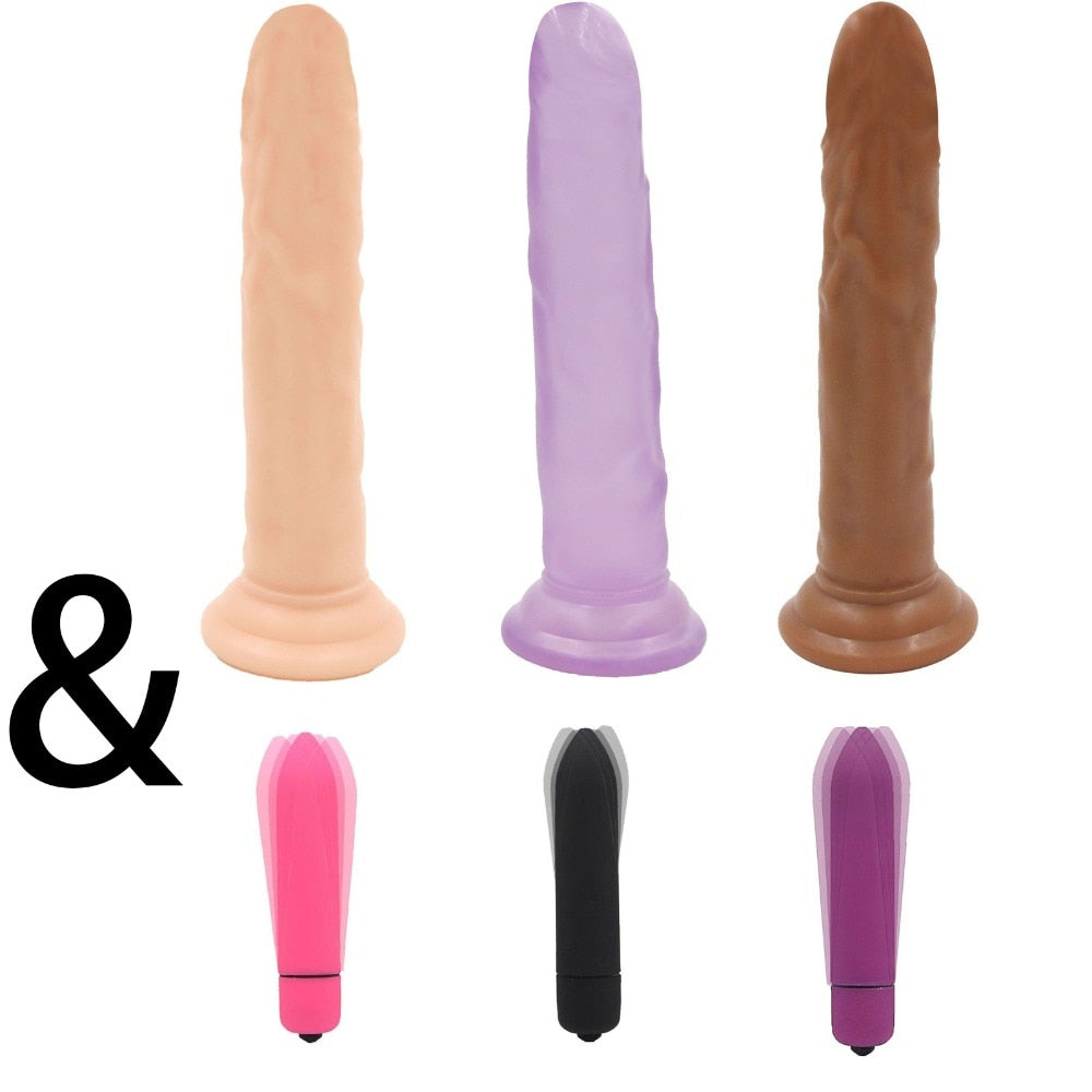 7.28 inch Realistic Big Dildo and Mini Vibrators for Women