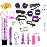 17Pcs Erotic Kit. Dildo, Vibrator, Anal Plugs, Handcuffs... And More - Own Pleasures