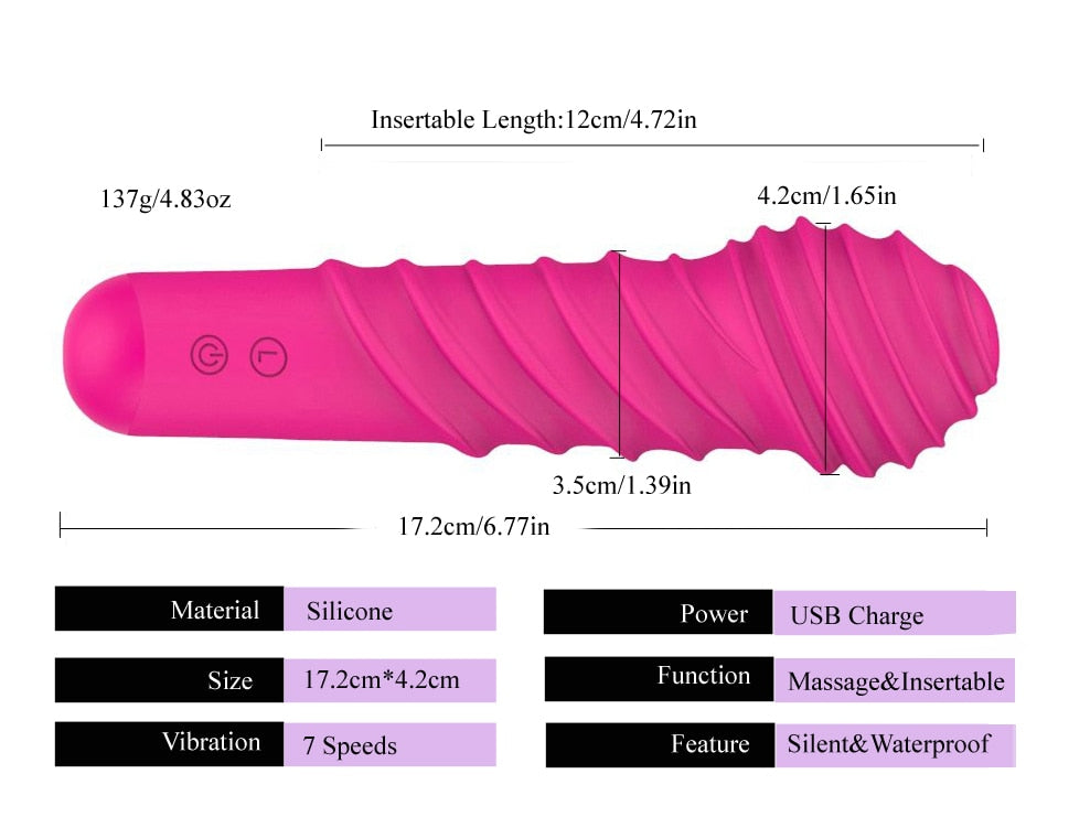 BEST SELLER 7 Speed Silicone Powerful Vibrator- Screw Shape