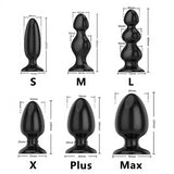 6 Sizes | Types Black Soft Silicone Big Butt Plug