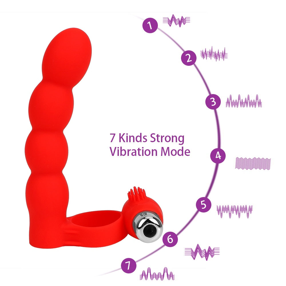 3 in 1 Double Penetration + Massage | Strapon Dildo Vibrator