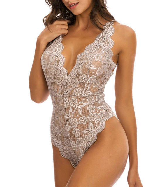 One Piece Lace Bodysuit | V Neck Nightwear Lingerie
