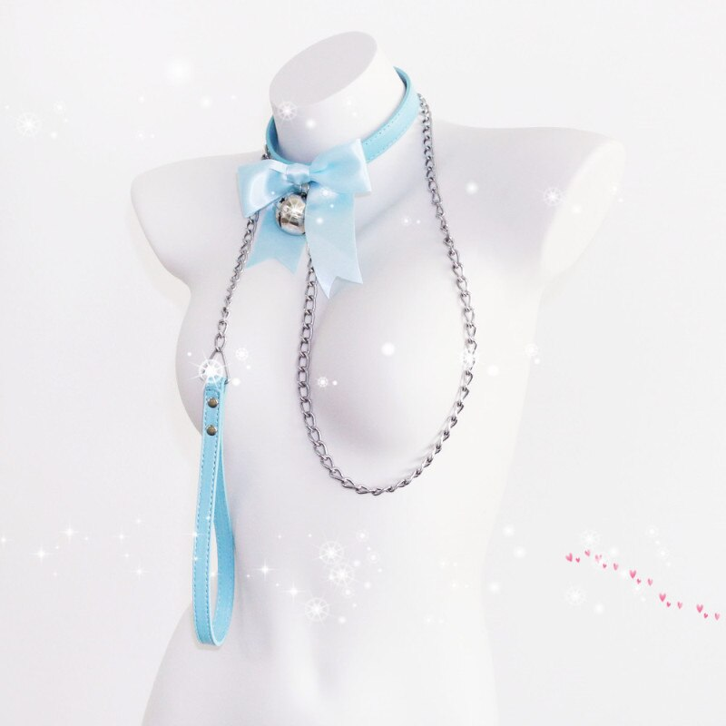 Lovely Bell Leather Collar Lead Chain Bondage | 4 Colors | 2 Designs