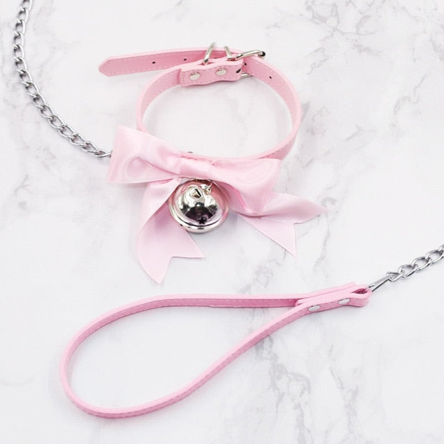 Lovely Bell Leather Collar Lead Chain Bondage | 4 Colors | 2 Designs - Own Pleasures