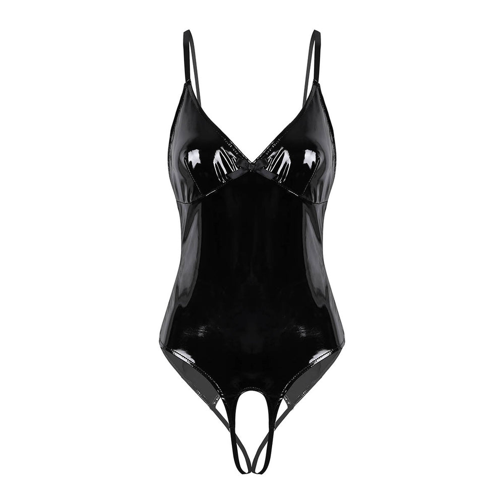 Open Crotch Latex Patent Lingerie | Straps Crotchless Bodysuit