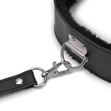 BDSM Plush Collar Leather And Leash | Fetish Bondage - Own Pleasures