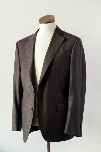 BROWN AND INDIGO PLAID SOFT COAT