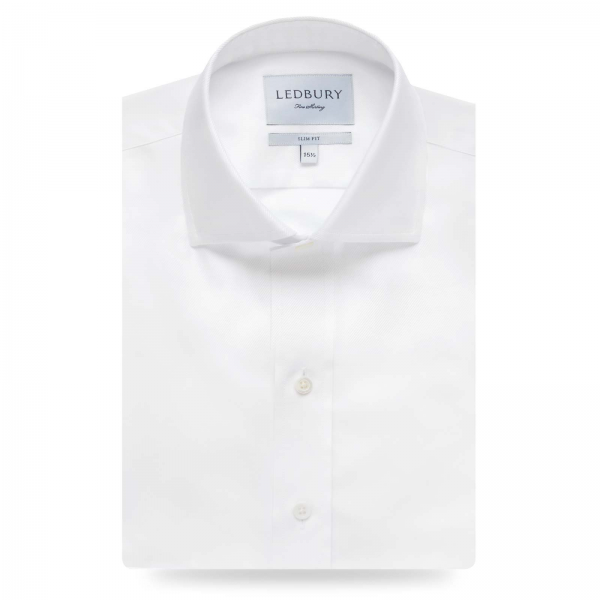 WHITE FINE TWILL SLIM FIT DRESS SHIRT