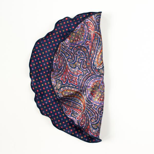 NAVY/GOLD/RED EXPLODED PAISLEY/ QUATREFOIL FOULARD REVERSIBLE POCKET CIRCLE
