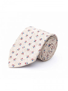 BIEGE/RUBY QUAD DOTS 100% SILK TIE
