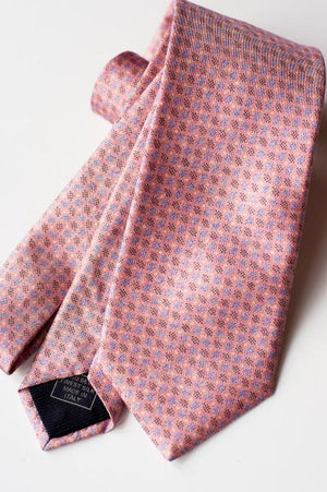 PINK WITH LIGHT BLUE AND NAVY OVALS TIE