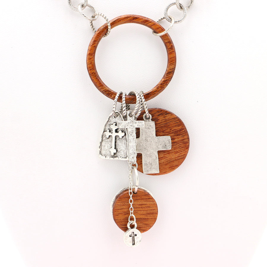 Koa Wood and Cross Charms Necklace