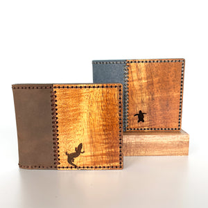 Handmade Koa and Leather Wallet Blue or Brown