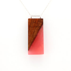 Koa Wood and Resin Pendant - Large