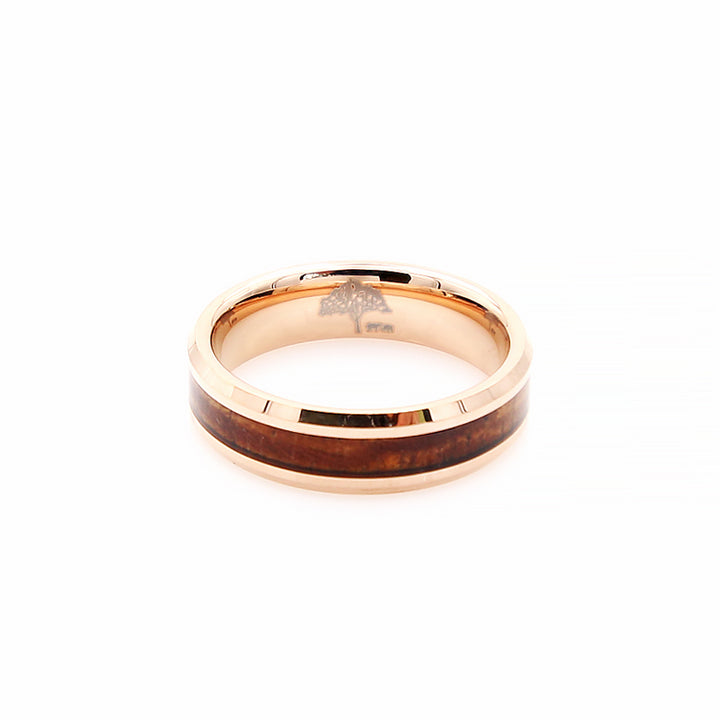 Koa Wood Rose Gold Tungsten Ring Beveled 6mm