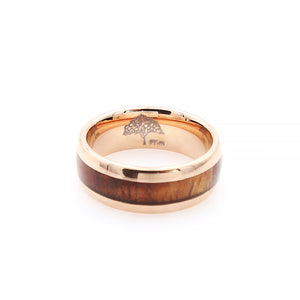 Koa Wood Rose Gold Tungsten Ring Rounded 8mm