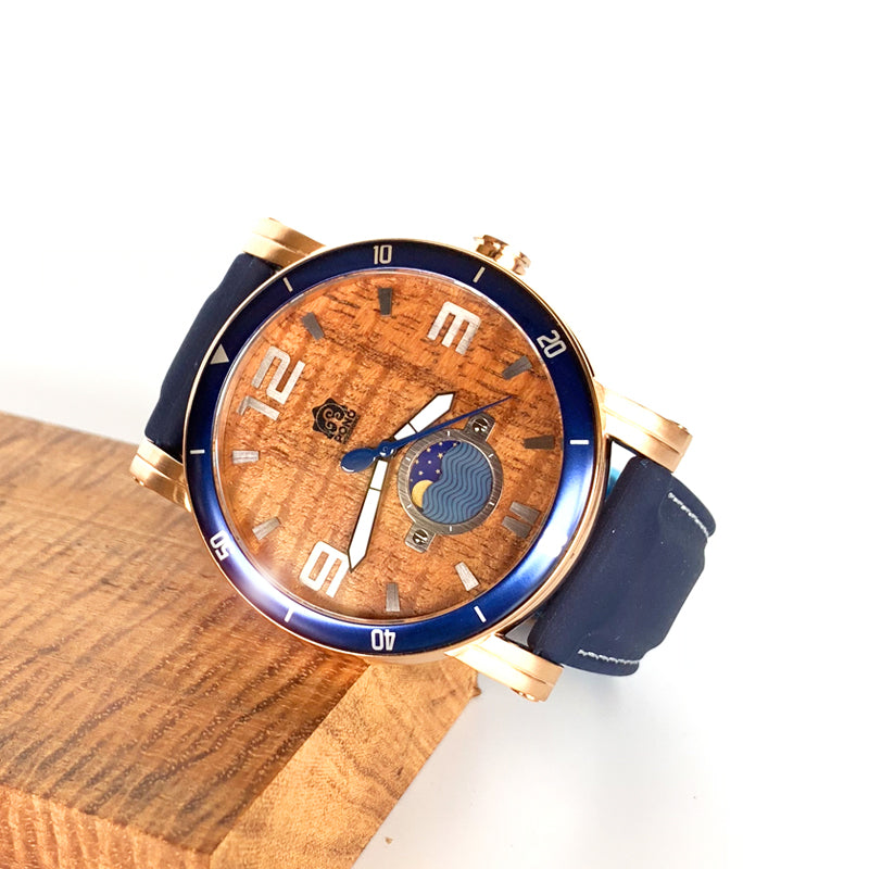 47mm Castaway Rose-Gold with Navy Silicone Band