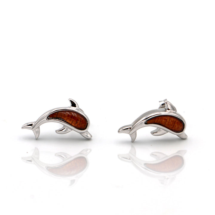 Silver Koa Wood Dolphin Earrings