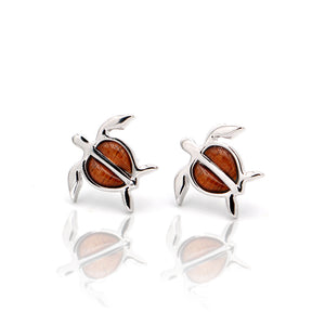 Honu Sterling Silver Koa Inlay Earrings