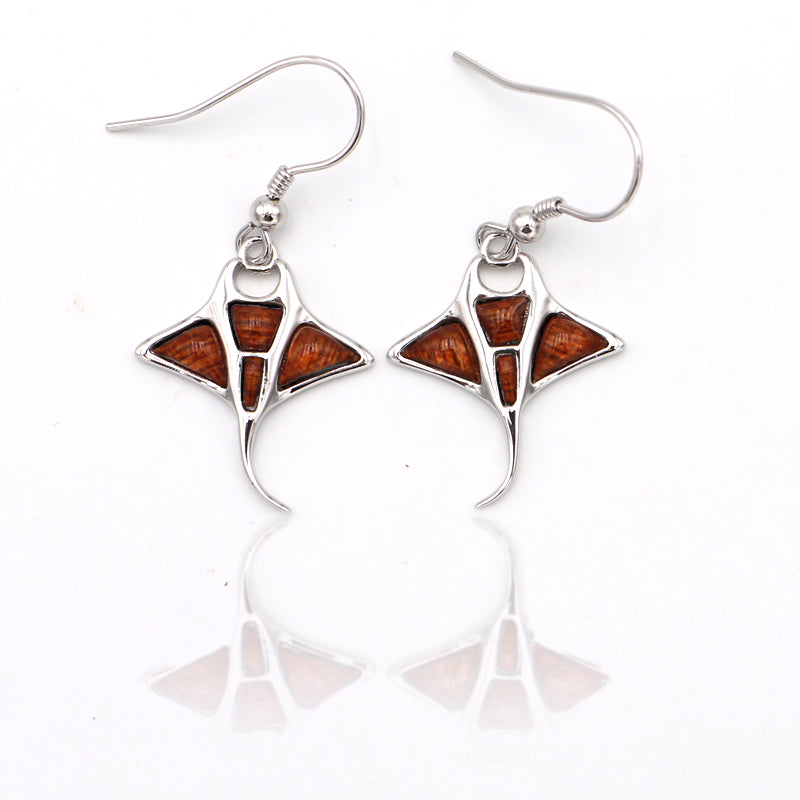 Silver Koa Wood Manta-Ray Earrings