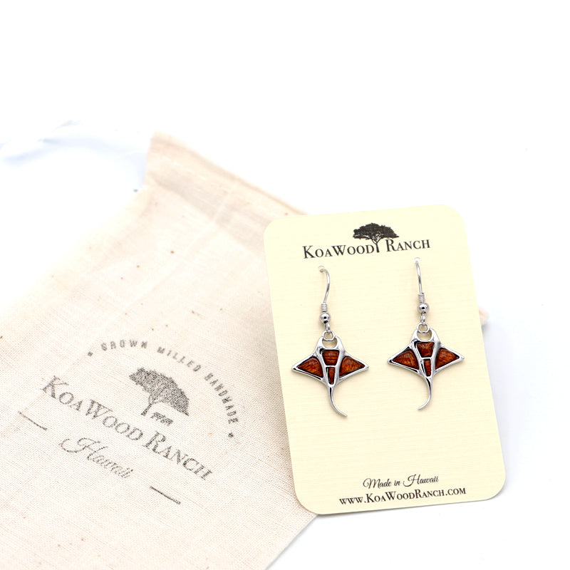 Silver Koa Wood Inlay Manta-Ray Earrings