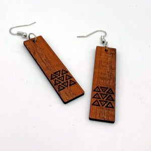 Koa Wood Tribal Stripe Drop Earrings