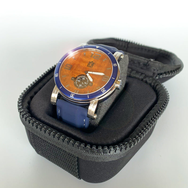 47mm Waterman Chrome with Navy Silicone or Black Leather Band