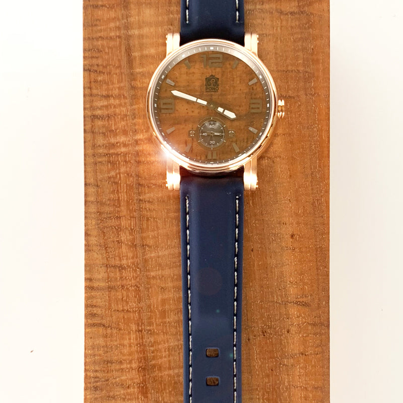 36mm Waterman Rose Gold with Silicone Navy or Black Band