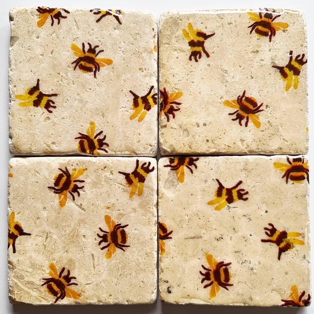 Natural Tumble Stone Coasters- Bees