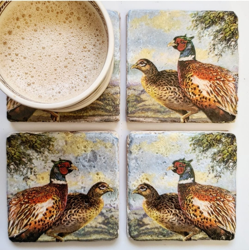 Natural Stone Tumbled Coaster- Pheasants