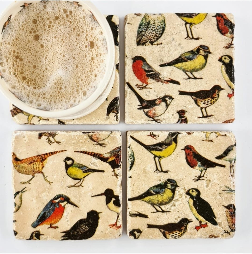Natural Tumbled Stone Coaster- Birds