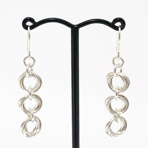 'Ava' 3 Silver earrings