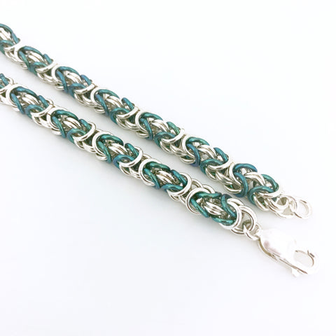 Broccoli & Silver Byzantine single strand bracelet