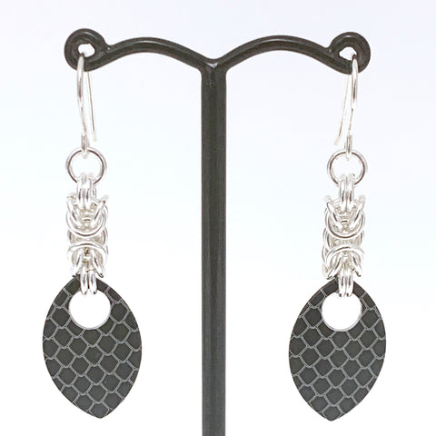 Byzantine & Black dragon skin scale earrings